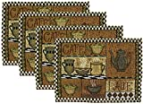 Brew Day Coffee House Woven Fabric Place Mats - Set of 4 (Cafe Latte - Coffee Cups and Coffee Pot with Check Border)