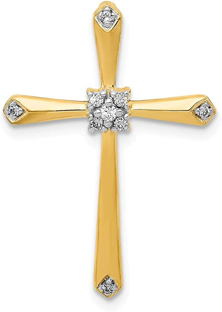 Solid 14k White and Yellow Gold Two Toned 1/20ct. Diamond Accent Cross Chain Necklace Slide Pendant Charm