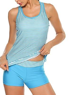 ADOME Women's Ruffled Bikini Top Falbala Lace-Up Shoulder Strap Bathing Suit (B_Style Light Blue, XX-Large)