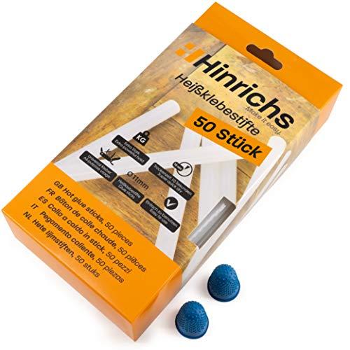 Hinrichs 50 x Pegamento Termofusible - Barra Silicona 11mm x 200mm - Barras de Silicona Caliente - sin Disolventes Secado Rápido