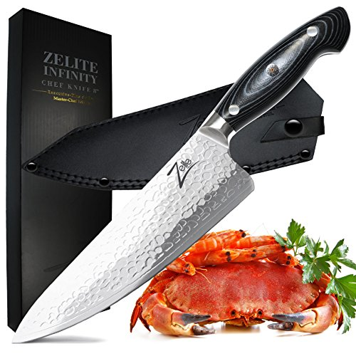 Zelite Infinity Chef Knife 8 Inch - Executive-Plus Series Master Chefs Edition - Japanese AUS-10 Super Steel 45-Layer Damascus - STORM-X Finish Blade, Leather Sheath