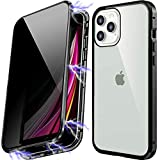 Anti Peeping Magnetic Case for iPhone 7plus/8plus, Privacy Case with Clear Double Sided Tempered Glass [Magnet Absorption Metal Bumper Frame] 360°Protection for iPhone 7plus/8plus-Black