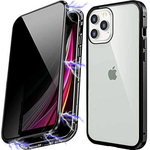 Anti Peeping Magnetic Case for iPhone XR, Privacy Case with Clear Double Sided Tempered Glass [Magnet Absorption Metal Bumper Frame] 360°Protection for iPhone XR Black