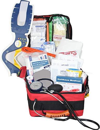 Erste Hilfe Notfallrucksack Schulsanitäter mit man. Blutdruckmessgerät & Stethoskop aus Plane mit weißen Reflexstreifen