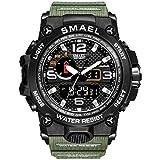 SMAEL Sport Watch Orologi Da Uomo Military Army 50m Orologi Da Polso Impermeabili Moda Uomo Orologi (Army Green)