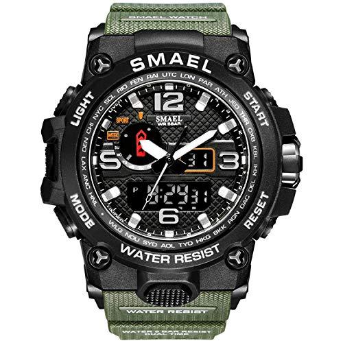 Montre analogique numérique Montre de Sport Militaire Mens Dual Dial Business Casual Multifonction électronique Poignet Montres Montre-Bracelet résistant (Army Green-2)