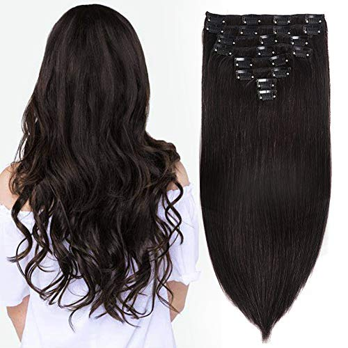 Hair Extensions Clip in Human Hair 100% Real Human Hair Double Weft 18Inch Natural Black Hair Extensions Full Head Thick Soft Hair Extensions for Woman 8A 8Pieces/Lot 120g 20Clips (18', Nature Color)
