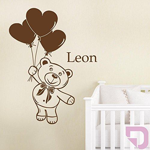 DESIGNSCAPE® Wandtattoo Teddy mit Wunschname und Luftballons 46 x 90 cm (Breite x Höhe) flieder DW809004-M-F30