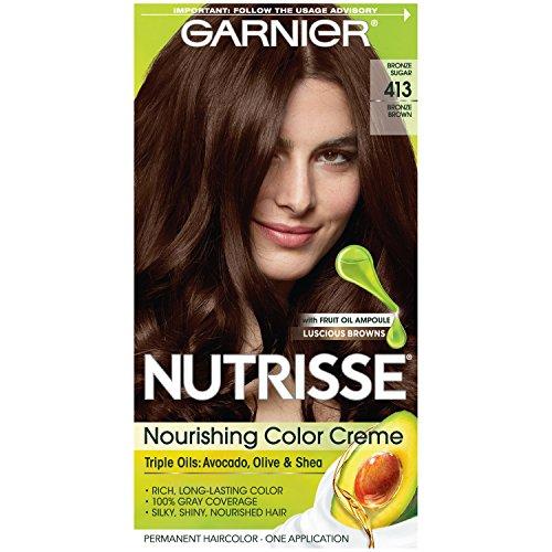 Garnier Nutrisse Nourishing Hair Color Creme, 413 Bronze Brown (Packaging May Vary)