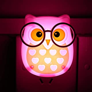 Cartoon Owl Night Light, LED Lighting Silicone Auto Control Sensor Color-Changing Nursery Lamp, 4 Color Optional Rechargeable Bedside Warm Adjustable Wall Table Toy Lamp for Baby Kids (Pink)