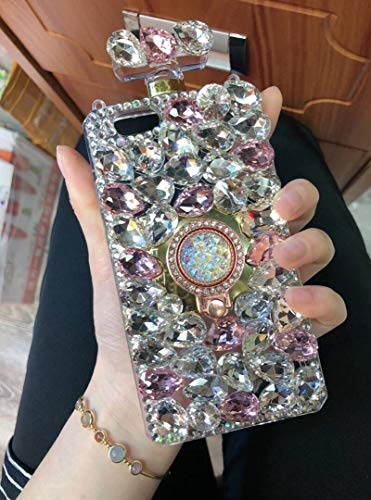 Losin Perfume Bottle Case Compatible with Apple iPhone 6 Plus/iPhone 6S Plus 5.5 Inch Case Luxury Bling Diamond Gemstone Perfume Bottle 3D Bling Rhinestones Ring Holder Stand Bracket Soft TPU Case