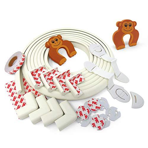 Protector de esquinas AIE para niños, esquinas de goma. Kit de protección para niños. 5 m de guardabarros + 8 para esquinas + 2 cierres de cajones para niños. Incluye 8 tapas para enchufes de niños + 2 topes para puertas