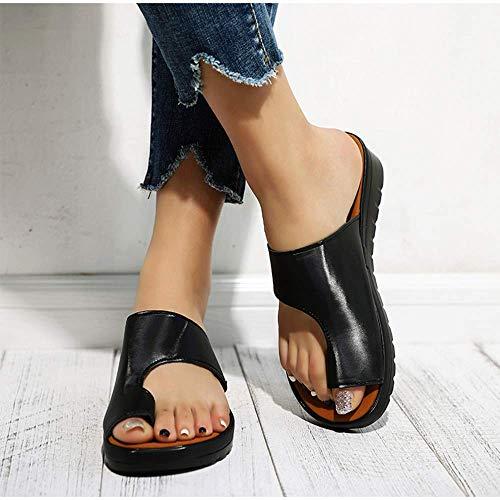 LCCYJ Sandalias De Mujer Cómodos Plataforma Chanclas Verano Zapatos De Punta Abierta con Corrección De Juanetes para Playa Viajar Casa,A1,41