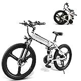 SAMEBIKE Bicicleta de montaña eléctrica 26 Pulgadas Rueda Plegable Ebike 350W 48V 10AH Bicicletas eléctricas de montaña para Adultos (Blanco)