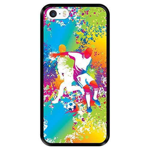 Hapdey Funda Negra para [ iPhone 5 5S SE ] diseño [ Abstracto, Jugadores de fútbol Multicolores ] Carcasa Silicona Flexible TPU