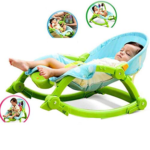 WYJW Baby elektrische schommelstoel multifunctionele opvouwbare gemakkelijk te dragen kinderen Reclining kan zitje wieg stoel 0-3 jaar oud, groen,1