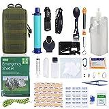 GRULLIN Equipo de Kits de Supervivencia de Emergencia, 60 en 1 para Exteriores IFAK Trauma Pouch Kits de Herramientas de Primeros Auxilios con Filtro de Agua, Tienda de Emergencia para