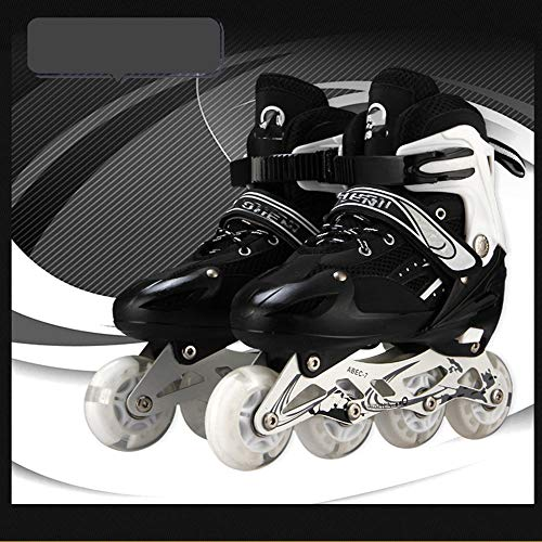Queen-home Verstellbare Inline-Skates Rollerskates Einstellbare Größe Schuhe für Kinder Boy Girl Adult PU Flashing 4 Räder Rollschuhe Kinder Rollschuh Sneakers Stiefel-Schwarz_L (37-42)