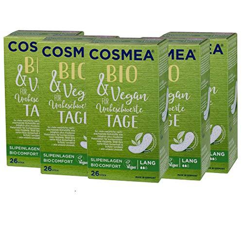 Cosmea Bio-Slipeinlagen lang, ohne Duft, Vorteilspack (5 x 26 Stk). Hygiene-Einlagen aus Bio-Baumwolle. Damen-Hygiene im Einklang mit der Natur