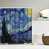 IcosaMro Sternennacht Duschvorhang für Badezimmer mit Haken, Van Gogh Sterne Art Dekorativer langer Stoff Duschvorhang Baddekorationen – 71 B x 72 L, blau