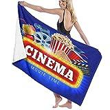 NANITHG Toalla de Playa,Blue Movie Cinema Palomitas de maíz Bebida Tablero de aplausos Cinematógrafo Rollo de película...