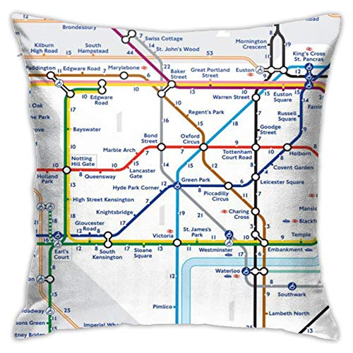 Throw Pillow Cover Case London Underground Map Funda de Almohada Decorativa 45cmx45cm Funda de cojín para sofá de Cama
