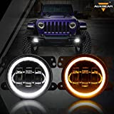 Auxbeam 4 Inch LED Fog Lights for Jeep Wrangler JK Rubicon Unlimited JKU 2007-2018, 60W Driving Offroad 4' Round Fog Lamps w/ DRL & Amber Turn Signal Lights