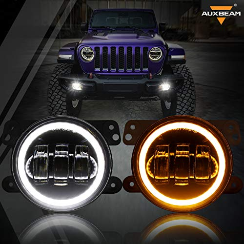 Auxbeam 4 Inch LED Fog Lights for Jeep Wrangler JK Rubicon Unlimited JKU 2007-2018, 60W Driving Offroad 4  Round Fog Lamps w  DRL & Amber Turn Signal Lights