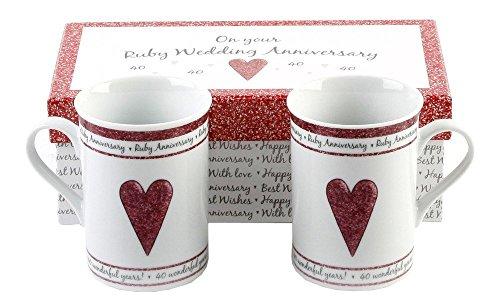 Haysom Interiors 40th Ruby Wedding Set Ceramic Mugs