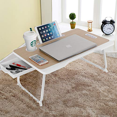 Baodan Laptop Bed Table with Storage, Foldable...