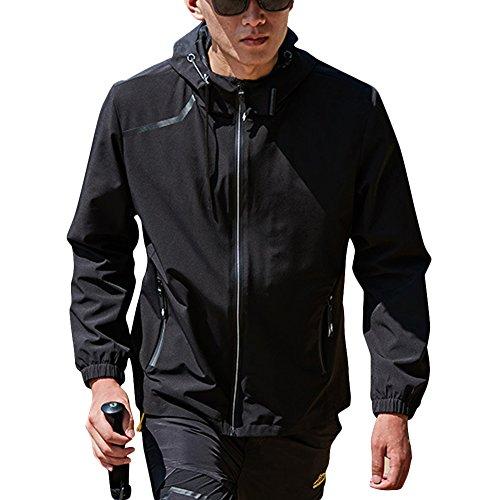 Femme Homme Vestes Monocouche Élasticité Coupe-Vent Imperméable à Capuche Camping Jacket Noir L