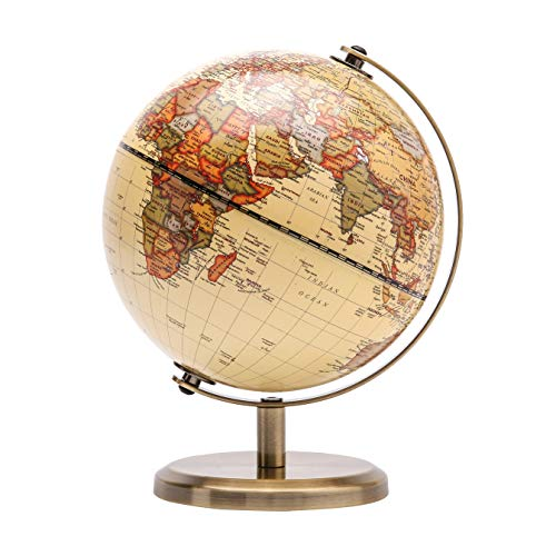 Exerz 14cm World Globe Mini Antique Globe - Educational/Geographic/Modern Desktop Decoration - 14cm Diametre Metal Arc and Base Bronzed Colour - School, Home, and Office