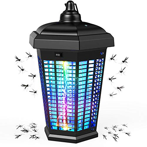 MAGIC CAT Bug Zapper Outdoor Electric, Waterproof 4000V Mosquito Zapper with Light Sensor, Insect Killer Lamp Fly Trap Zapper with ON/Off Switch Mosquito Killer Lamp for Backyard, Patio & Indoor Use