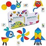 TONZE Puzzles Infantiles Montessori Tangram Madera 3 4 5 6 Anos- Puzzle Rompecabezas de Madera y Tarjetas de Apilamiento Montessori Juguetes para Niños Niñas 96 Piezas
