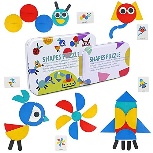 TONZE Puzzles Infantiles Montessori Tangram Madera 3 4 5 6 A