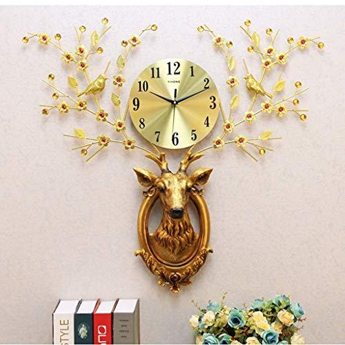 YVX Reloj de Pared de Arte Grande,decoración de Arte de Pared de Metal con Cabeza de Ciervo,Oficina del Dormitorio de la Sala de Estar del hogar, 73 * 79 cm