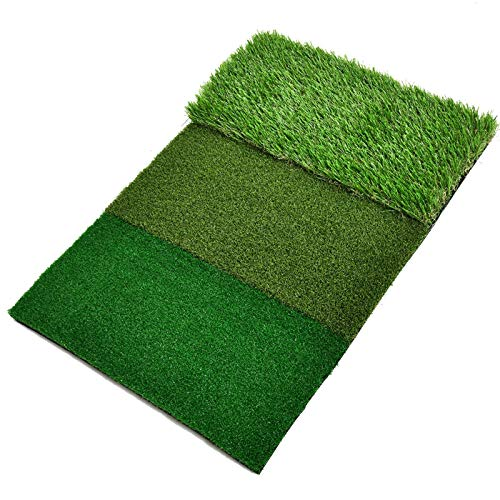 COYMOS Golf Mat 3-in-1 Turf Grass Mat Foldable 25x16 inches Golf Hitting Mat with Unique Hitting Surfaces for Chipping, Driving and Training Golf Practice - Home Use or Outdoor Backyard