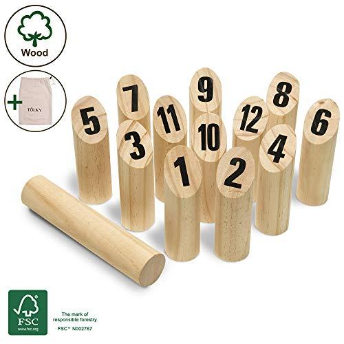 Moorland Tölky Jeu de quilles finlandais en Bois - Bois écologique FSC® et Sac en Tissu - Jeu de Plein air - de 2 à 4 Joueurs à partir de 5 Ans