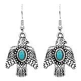 Rosemarie & Jubalee Women's Western Style Aztec Thunderbird Turquoise Howlite Dangle Earrings, 1.50'