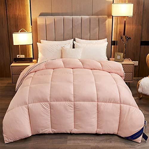Hahaemall Queen Size Duvet 100% Cotton Anti Dust Mite & Down Proof Fabric 95% White Goose Down Winter Quilt - Anti-allergy - Duvet Quilt-light pink_220x240cm-3000g