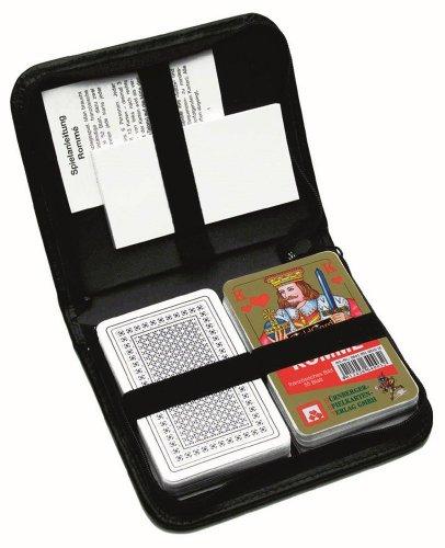 Doppelrommé - Premium LEINEN - im Lederetui: französisches Bild / 2 x 55 Karten Plus Spielanleitung, Stift und Block