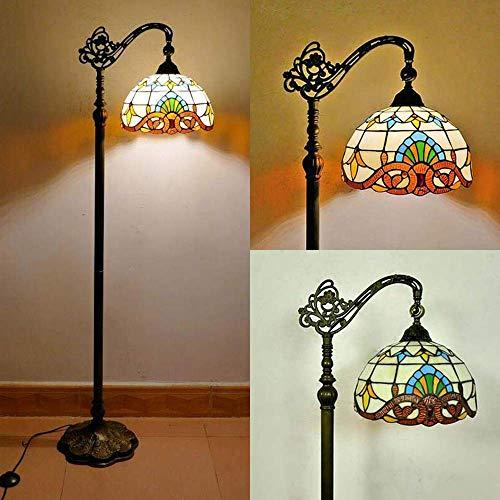 HUIRUI Vintage Tiffany Stehlampe, Schlafzimmer Wohnzimmer Stehleuchte, Antik Standllampe mit Fußschalter, 165cm, Retro Buntglas Lampenschirm Wohnzimmerlampe, E27 max. 40W
