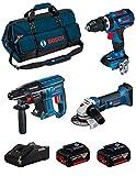 BOSCH Kit 18V BK309BAG (Trapano a Percussione GSB 18V-60 C + Smerigliatrice GWS 18-125 V-LI + Martello Perforatore GBH 18V-21 + 2 Batterie di 5,0 Ah + Caricabatterie + Borsa)