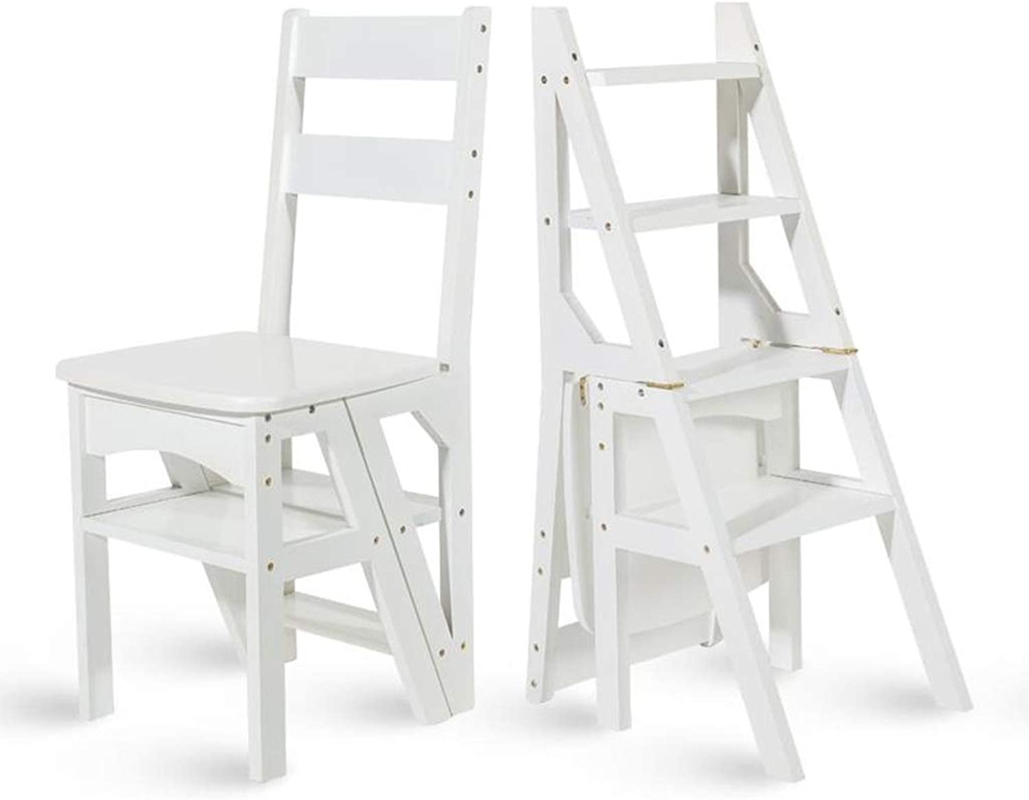 Folding Ladder, 4-step Folding Bamboo Stair Stool Chair, Home Stool Dual-use Multi-function Household Ladder Height 90cm (color   White)