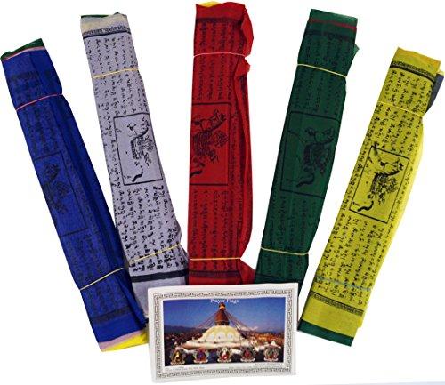 GURU SHOP Gebetsfahnen (Tibet) 5 Stück Sparpack Gebetsfahnen in Verschiedenen Längen -10 Wimpeln/Viskose, Länge: 2,60 m Lang (Wimpel 20x18 Cm), Gebetsfahnen