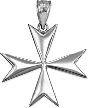 Polished Sterling Silver Maltese Cross Pendant