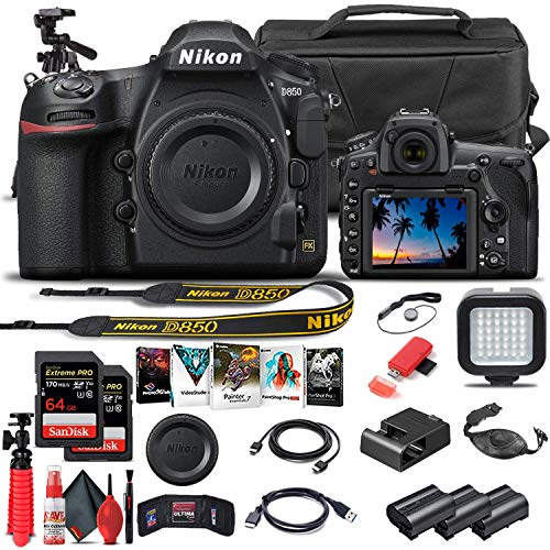 Nikon D850 DSLR Camera (Body Only) (1585) + 64GB Memory Card + Case + Corel Software + 2 x EN-EL 15 Battery + LED Light + HDMI Cable + Cleaning Set + Flex Tripod + More (International Model) (Renewed)