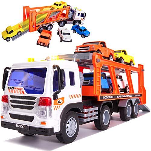 Buyger 5 en 1 Coches de Juguetes con Luz y Sonido Camion de Transportador Friccion Vehículos Pista Rampas Carreras Juguetes Regalo para Niños Niñas 3 4 5 Años