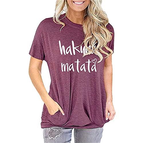 Manga Corta Mujer Tops Moda Simple Verano Cuello Redondo Mujer Shirt Unique Bolsillo Diseño Mujer Blusa Diario Casual Cómodo Transpirable All-Match Mujer T-Shirts N-Dark Purple XXL