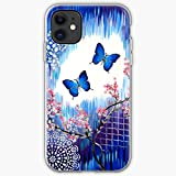 Butterfly with Blue Pretty Butterflies 2 Cover Housse de Protection en Verre pour iPhone, Samsung,...